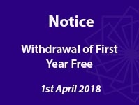 IMPORTANT: Withdrawal of First Year Free Membership
